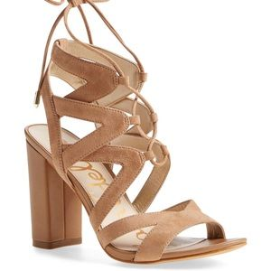 Yardley Caged Lace Up Tan Suede High Heel Sandals